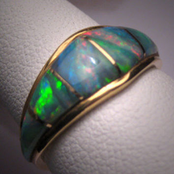 Vintage Australian Opal Ring 14K Gold Wedding Band Fine