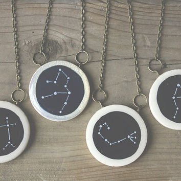 Custom Constellation Jewelry- Pick your constellation- hand painted wood cosmic necklace