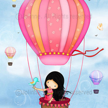 Childrens Wall Art girl in hot air balloon - for Baby girl bedroom or nursery - from 7x9 up to 12x15 inch