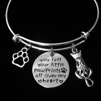 You Left Your Little Paw Prints All Over My Heart Expandable Charm Bracelet Silver Adjustable Wire Silver Bangle Meaningful Kitten Animal Lover One Size Fits All Memorial Gift