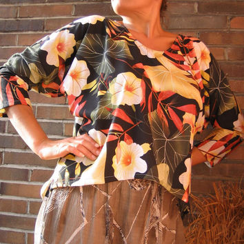 Tropical Floral BATWING SHIRT Cotton xl xxl 2xl 18 20 - Comfortable Leisure Casual Design Wear - OOAK tallhappycolors