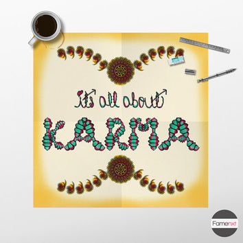 Quote Poster. Typographic Karma. Poster. Print. Wall Decor. Wall Art