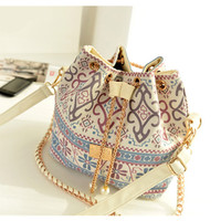 Drawstring Bead Vintage Canvas Crossbody Shoulder Bag