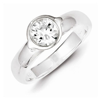 Sterling Silver Solitaire Round C.Z Ring