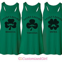 Lassie Stache Matching St Patricks Day Girls Racerback Tank Tops