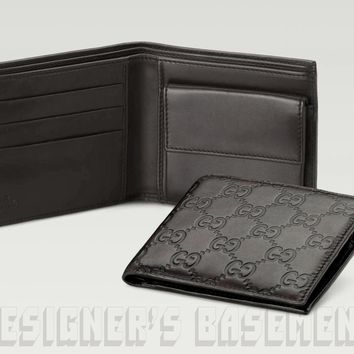 One-nice™ GUCCI Mens black Leather GUCCISSIMA Bi-fold COIN POUCH wallet NIB Authentic $420