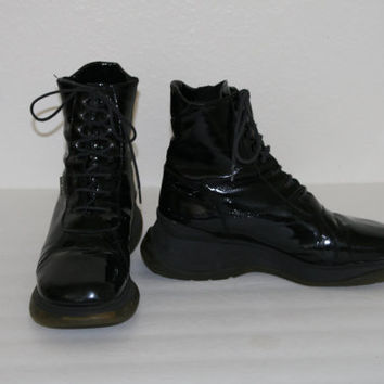 90s chunky boots shoes lace up combat black leather /cyber goth / punk / Grunge / Club Kid / Festival / rave / cosplay us 7.5 espirt ankle