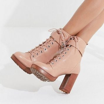 UO Kennedy Heeled Lace-Up Boot | Urban Outfitters