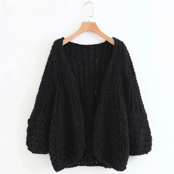 FREE SHIPPING  Autumn relaxed hand knitting simple sweater cardigan jacket of pure color
