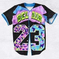 VON3TL 2 Colors Real AMERICAN USA Size Custom made Fashion 3D Sublimation Print Bel Air 23 - Fresh Prince Baseball Jersey Plus Size