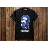 Bape 2018 Summer Tide brand shark camouflage printed short-sleeved T-shirt F-A-KSFZ black