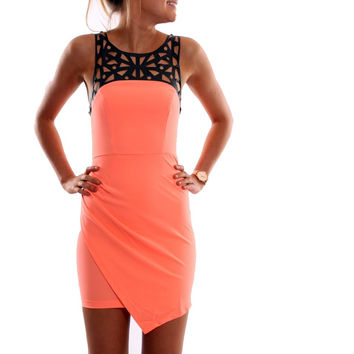 Apricot Cut-Out Sleeveless Asymmetrical Bodycon Dress