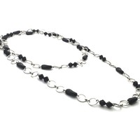 Double Strand Black Bead Round Link Handmade Necklace
