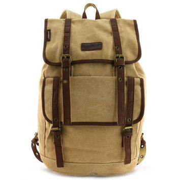 Vintage Canvas Backpack with Leather Accents