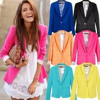 2016  new hot stylish and comfortable women's Blazers Candy color lined with striped  suit