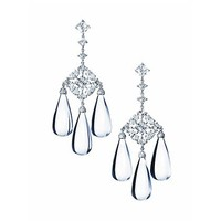 Mixed Cut Diamond Chandelier Earrings with Rock Crystal Drops