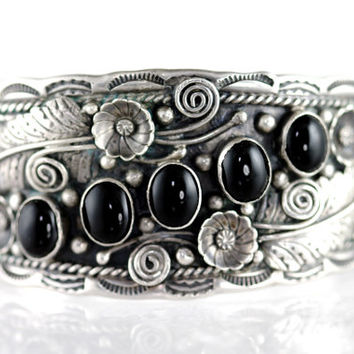 Navajo, Bracelet, Cuff, Sterling Silver, Onyx, Applique, Vintage, Indian Jewelry, Boho, Gypsyqueen