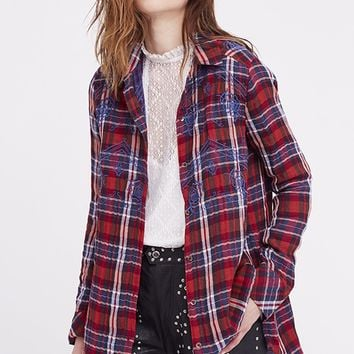 Magical Plaid Button Down - Red by Free People