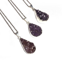 Amethyst Druzy Necklace - Raw Amethyst Necklace, Druzy Pendant Necklace, Agate Druzy Jewelry, Raw Gemstone Necklace, Druzy Quartz Necklace