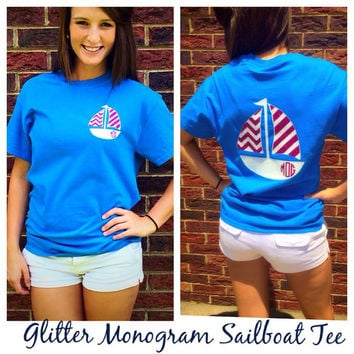 Sailboat Glitter Monogram Tee