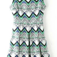 White Wave Print Sleeveless Pleated Midi Dress