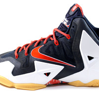 Nike Men's Lebron XI USA July 4 White/Red/Navy Blue Basketball Shoes 616175 164