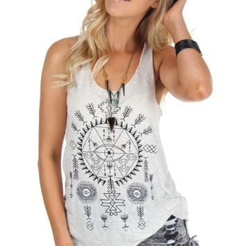Taupe Tribal Graphic Tank