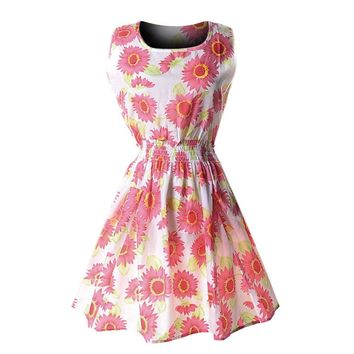 Floral cute pink  Women Casual Chiffon O-Neck Sexy Sleeveless Print Beach Mini Party Dress vestito donna