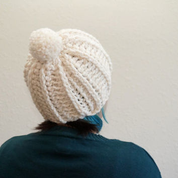 pom pom beanie, sparkle beanie, christmas beanie, xmas beanie, wool hat, chunky beanie, cream hat / THE TOKO / Starlight / Ready to Ship!