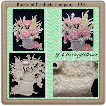 Vintage Burwood Flower Basket Wall Plaque Country Decor RETRO ART-Collectible-Gift-Wall Art-Wall Decor-Cottage Chic Decor-