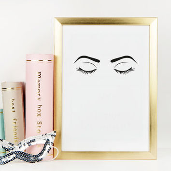 Fashion Wall Art Eyebrows On Fleek Fashion Print Makeup Print Makeup Decor Eye Lashes Girls Room Decor Teen Girls Fashion Illustration