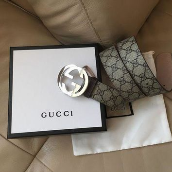 DCCK Authentic New Gucci Supreme GG Buckle Belt Size 90cm 30-32 Waist