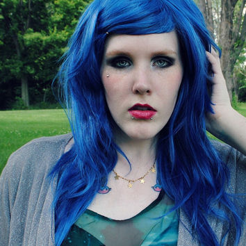 SALE Blue wig, long blue wig, scene wig // Hipster Emo Rock Punk Goth wig // Blue Hair Straight Long wig // Blue Raspberry Blitz