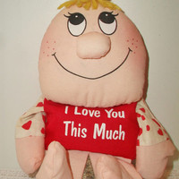 Retro Wilbur and Friends Doll Toy I Love You This Much Vintage Russ Berrie Bean Bag Taiwan Valentine's Day Kitsch