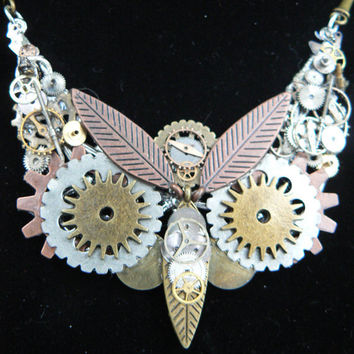 steampunk owl necklace  SALE ooak gears watch parts leaves mixed metal bars chain steampunk gothic fantasy gypsy boho style