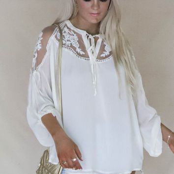 Lennox Cream Sheer Tie Front Peasant Top