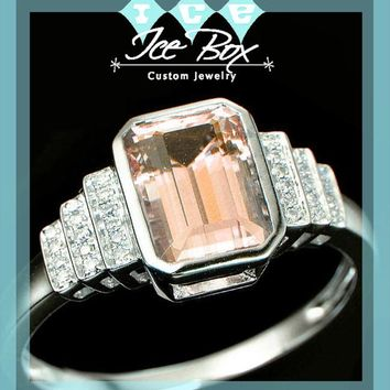 Morganite Engagement Ring 3ct Emerald Cut in a 14k White Gold Art Deco Bezel Halo Setting
