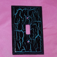 Custom Distressed Turquoise Light Switch Plate, Distressed Black &Turquoise On A Single Decorative Wood Light Switch Plate- Cover