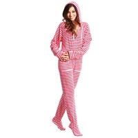 Candy Striped Footie Pajamas for Adults