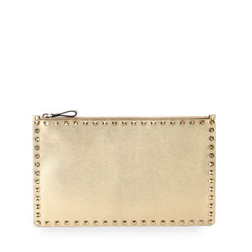 Valentino Rockstud Large Zip Pouch Bag, Gold