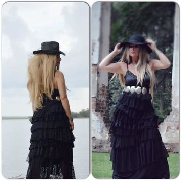XLG Spell and Gypsy Stevie nicks Maxi dress Black Slipdress,  Black Maxi Dress, Gypsy spell dress, Fall maxi dresses, True rebel clothing
