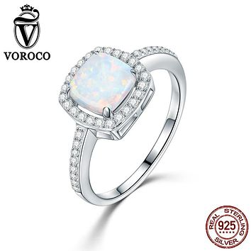 VOROCO 925 Sterling Silver Ring Women Genuine Princess Square Opal Rings for Women Engagement Wedding Party Fine Jewelry