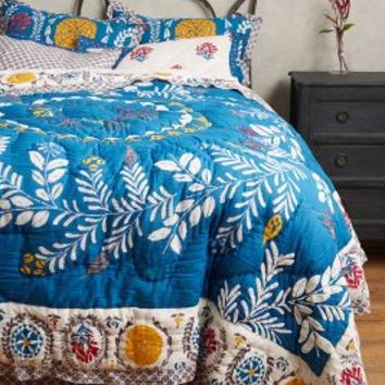Zocalo Embroidered Quilt in Blue