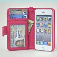 Navor iPhone Life Protective Deluxe Book Style Folio Wallet Leather Case for iPhone 5 & iPhone 5S ( Hot Pink ):Amazon:Cell Phones & Accessories
