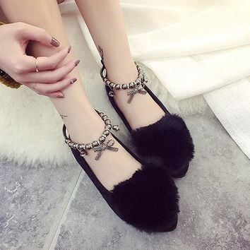 Beading Soft Fur Suede Lazy Comfortable Solid Color Loafers For Women