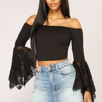 Arlette Long Sleeve Top - Black
