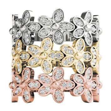 Stackables 1/2 Eternity Tri-Tone Gold Floral Bezel 3-Band Set