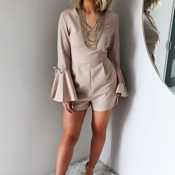 What About Your Love Romper: Taupe