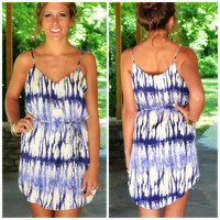 Tie Dye For Blue Abstract Print Shift Dress