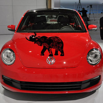 Vinyl Decal Sticker for Car Hood  fits any Auto Vehicle Exclusive Designed Elephant with Indian Pattern Original Design TK265  In 25 Colors